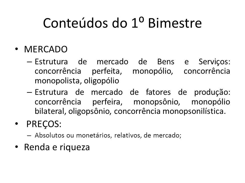 Conteúdos do 1⁰ Bimestre MERCADO – Estrutura de mercado de Bens e Serviços: concorrência perfeita, monopólio, concorrência monopolista, oligopólio – E