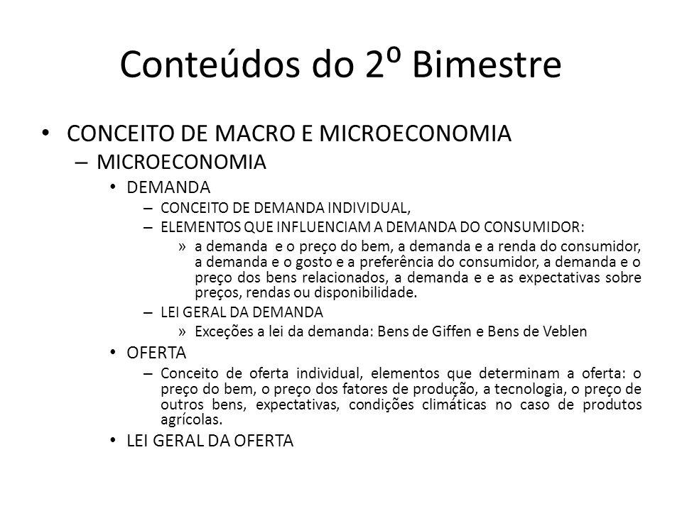 Conteúdos do 2⁰ Bimestre CONCEITO DE MACRO E MICROECONOMIA – MICROECONOMIA DEMANDA – CONCEITO DE DEMANDA INDIVIDUAL, – ELEMENTOS QUE INFLUENCIAM A DEM