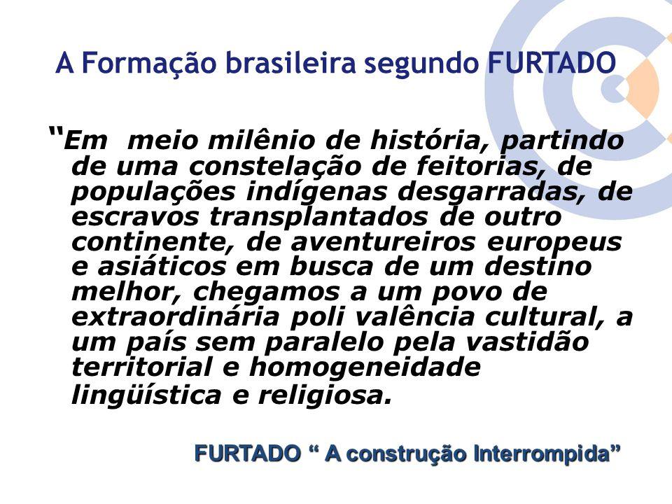 """A Formação brasileira segundo FURTADO """" Em meio milênio de história, partindo de uma constelação de feitorias, de populações indígenas desgarradas, de"""