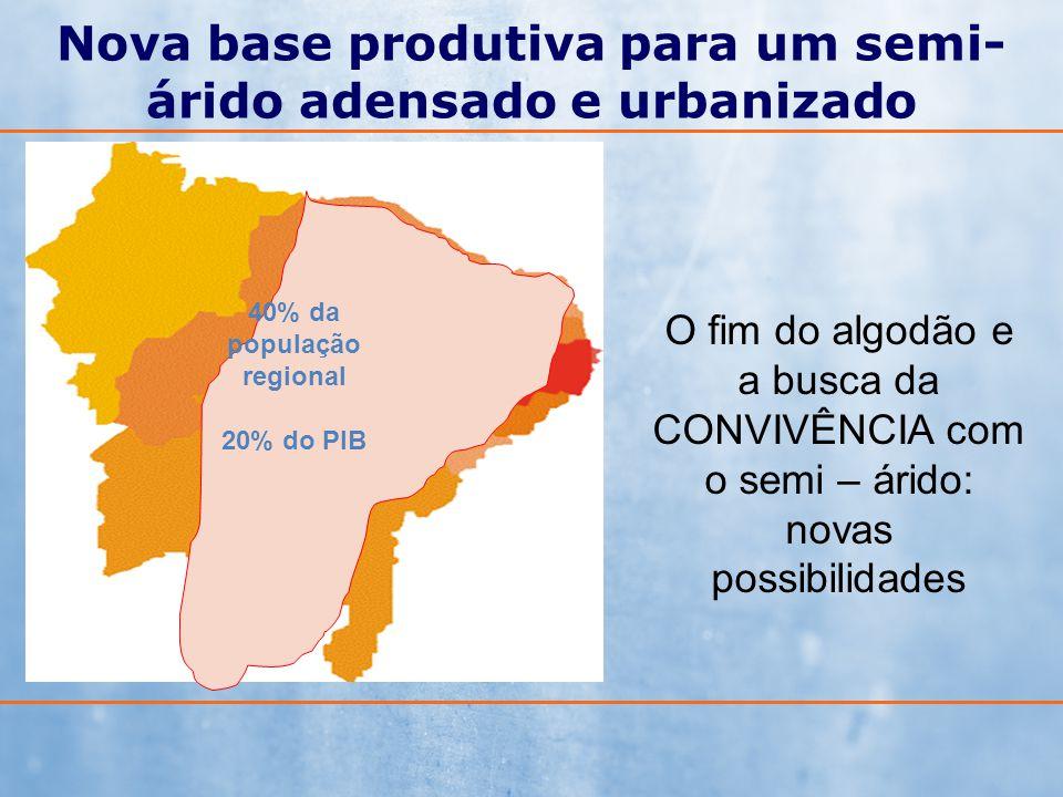 Nova base produtiva para um semi- árido adensado e urbanizado 40% da população regional 20% do PIB O fim do algodão e a busca da CONVIVÊNCIA com o sem