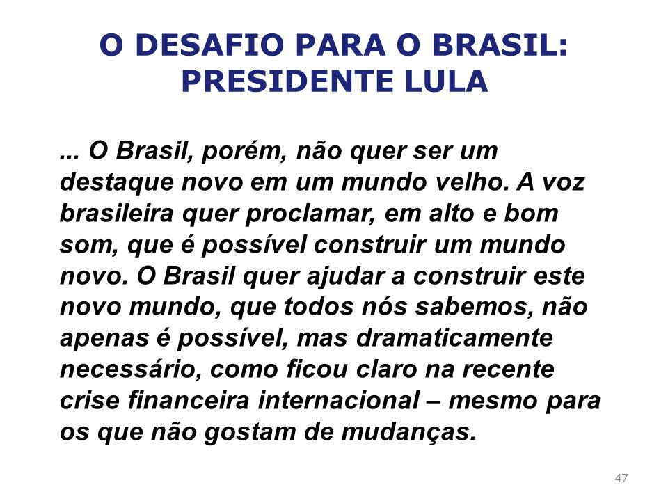 ... O Brasil, porém, não quer ser um destaque novo em um mundo velho. A voz brasileira quer proclamar, em alto e bom som, que é possível construir um