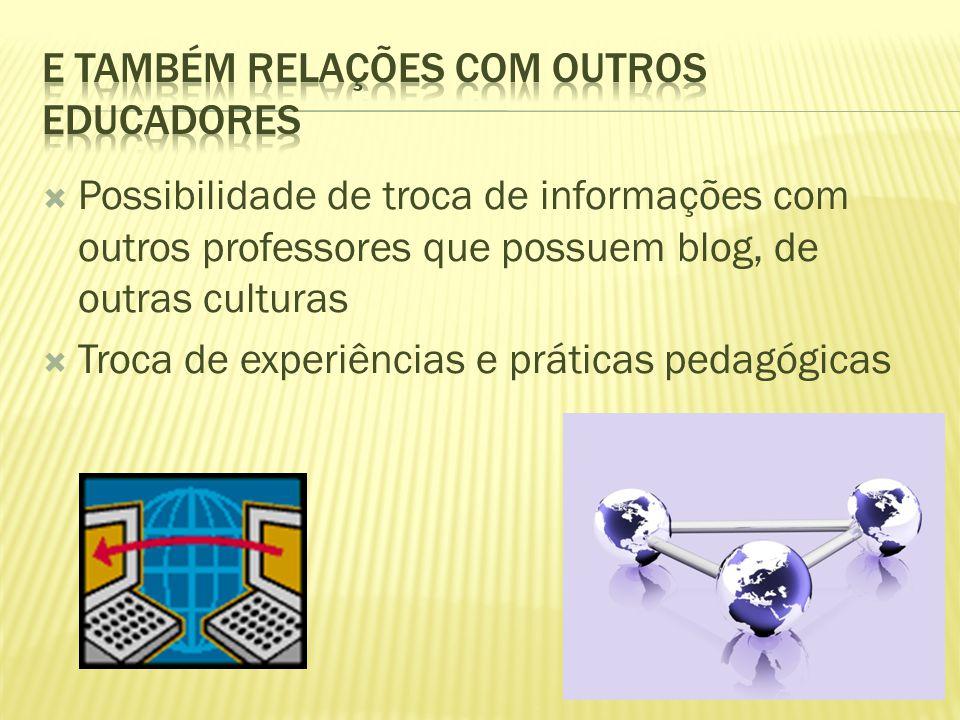  Possibilidade de troca de informações com outros professores que possuem blog, de outras culturas  Troca de experiências e práticas pedagógicas