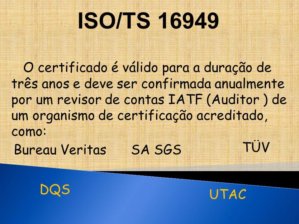 O certificado é válido para a duração de três anos e deve ser confirmada anualmente por um revisor de contas IATF (Auditor ) de um organismo de certificação acreditado, como: Bureau Veritas DQS SA SGS TÜV UTAC ISO/TS 16949
