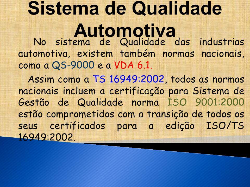 No sistema de Qualidade das industrias automotiva, existem também normas nacionais, como a QS-9000 e a VDA 6.1.