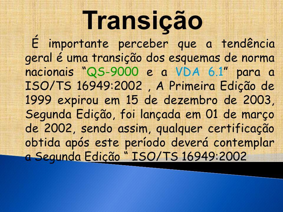 Transição É importante perceber que a tendência geral é uma transição dos esquemas de norma nacionais QS-9000 e a VDA 6.1 para a ISO/TS 16949:2002, A Primeira Edição de 1999 expirou em 15 de dezembro de 2003, Segunda Edição, foi lançada em 01 de março de 2002, sendo assim, qualquer certificação obtida após este período deverá contemplar a Segunda Edição ISO/TS 16949:2002