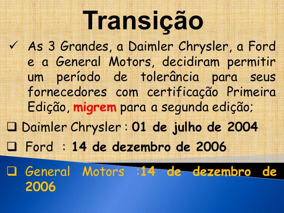 As 3 Grandes, a Daimler Chrysler, a Ford e a General Motors, decidiram permitir um período de tolerância para seus fornecedores com certificação Primeira Edição, migrem para a segunda edição;  Daimler Chrysler : 01 de julho de 2004  Ford : 14 de dezembro de 2006  General Motors :14 de dezembro de 2006 Transição