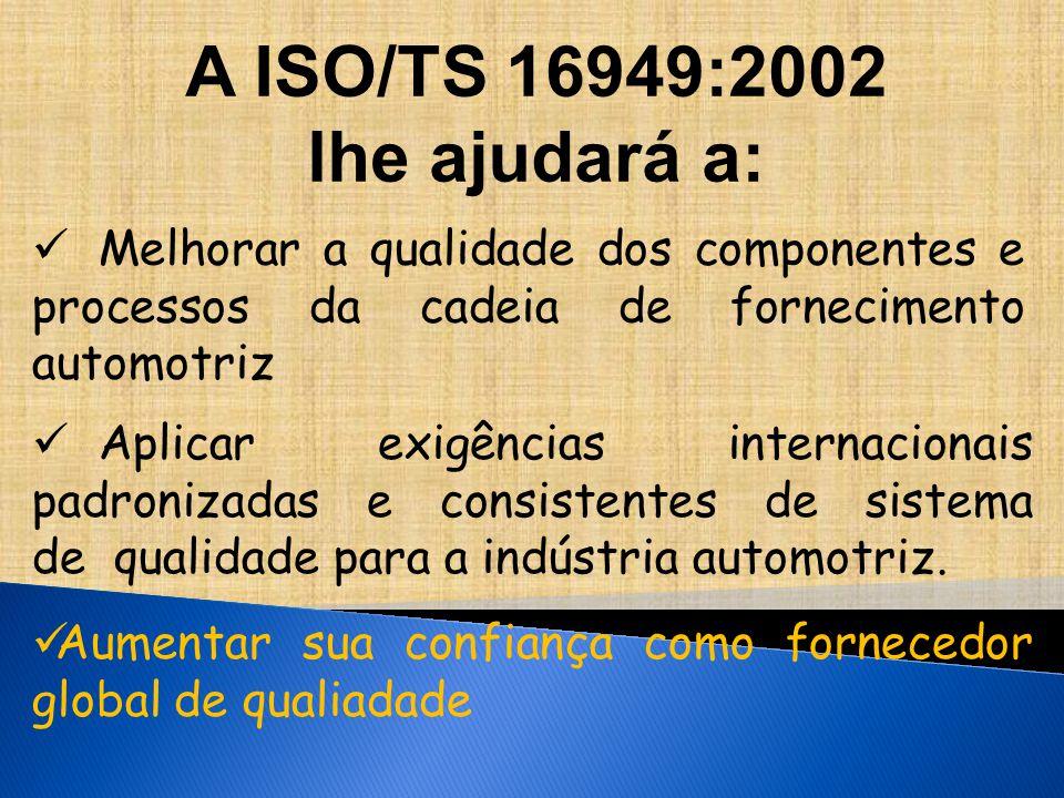 A ISO/TS 16949:2002 lhe ajudará a: Melhorar a qualidade dos componentes e processos da cadeia de fornecimento automotriz Aplicar exigências internacionais padronizadas e consistentes de sistema de qualidade para a indústria automotriz.