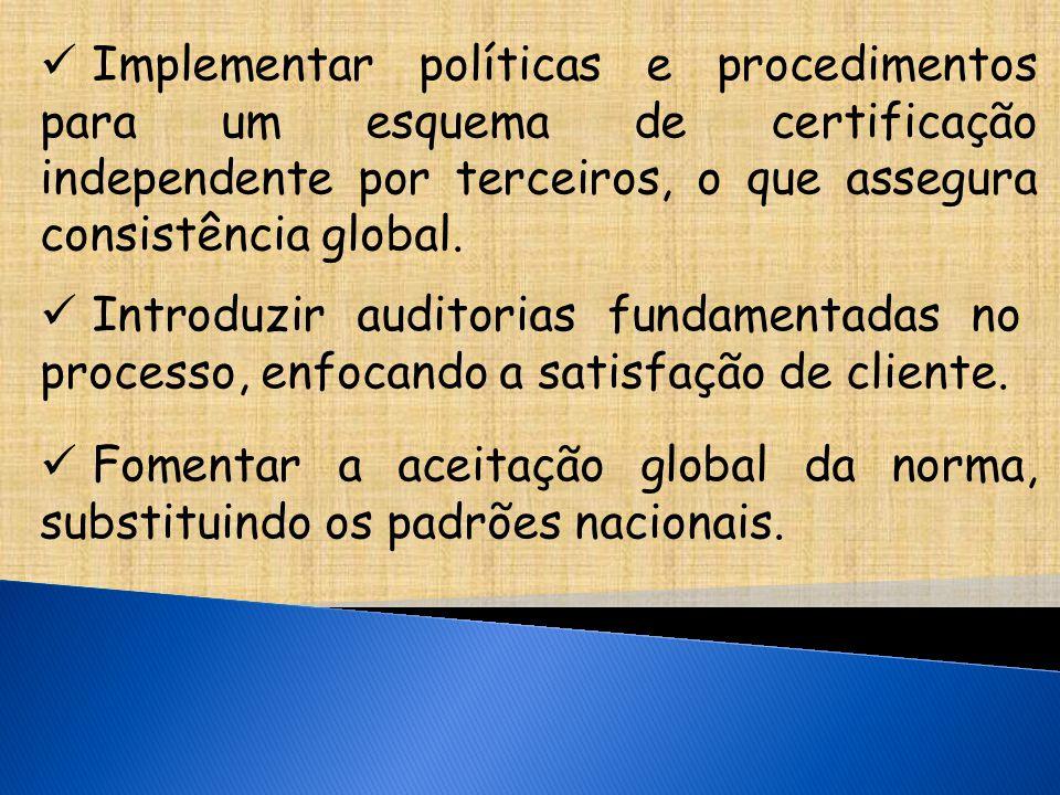 Implementar políticas e procedimentos para um esquema de certificação independente por terceiros, o que assegura consistência global.