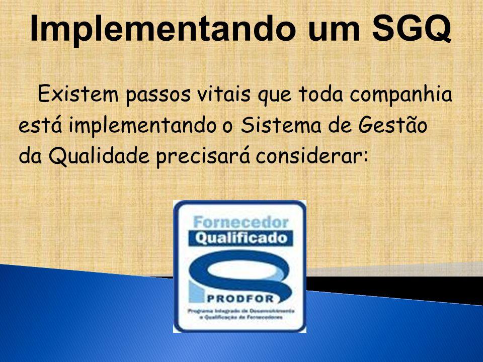 Implementando um SGQ Existem passos vitais que toda companhia está implementando o Sistema de Gestão da Qualidade precisará considerar: