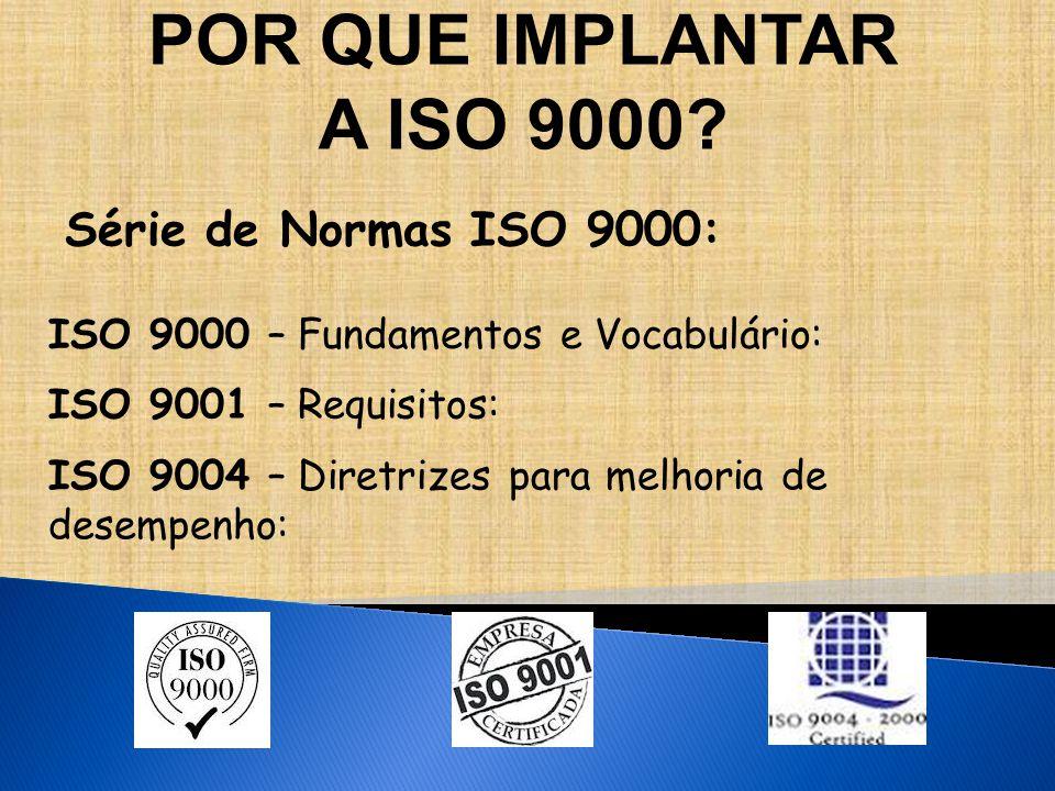Série de Normas ISO 9000: ISO 9000 – Fundamentos e Vocabulário: ISO 9001 – Requisitos: ISO 9004 – Diretrizes para melhoria de desempenho: POR QUE IMPLANTAR A ISO 9000?