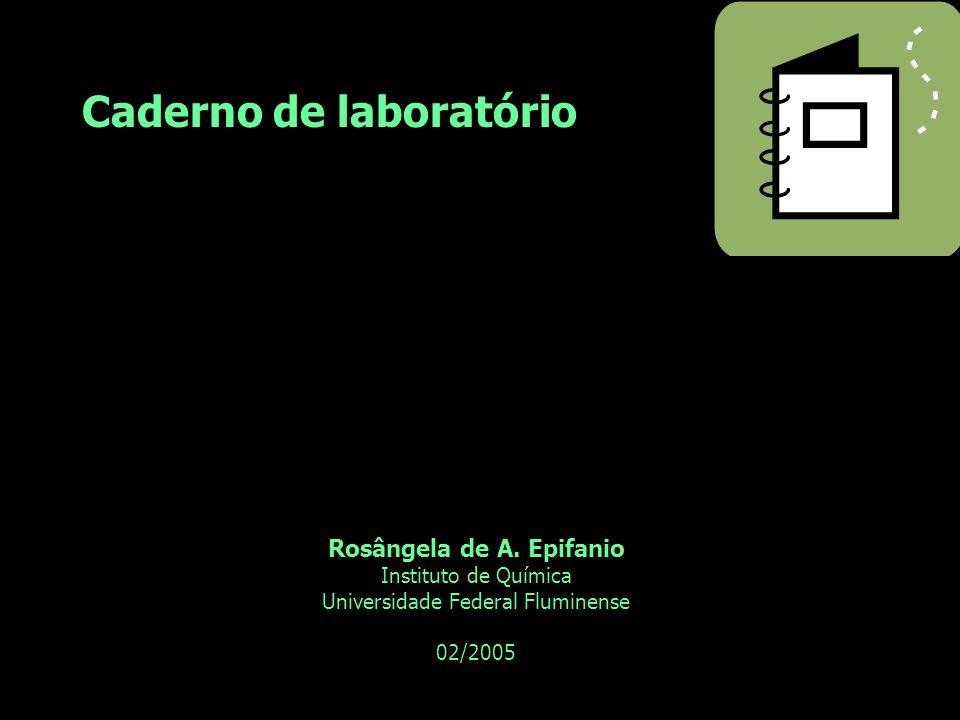 Caderno de laboratório Rosângela de A. Epifanio Instituto de Química Universidade Federal Fluminense 02/2005