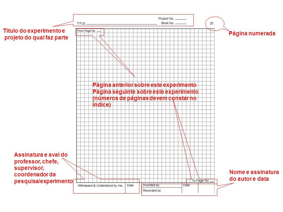 Página numerada Título do experimento e projeto do qual faz parte Página anterior sobre este experimento Página seguinte sobre este experimento (númer