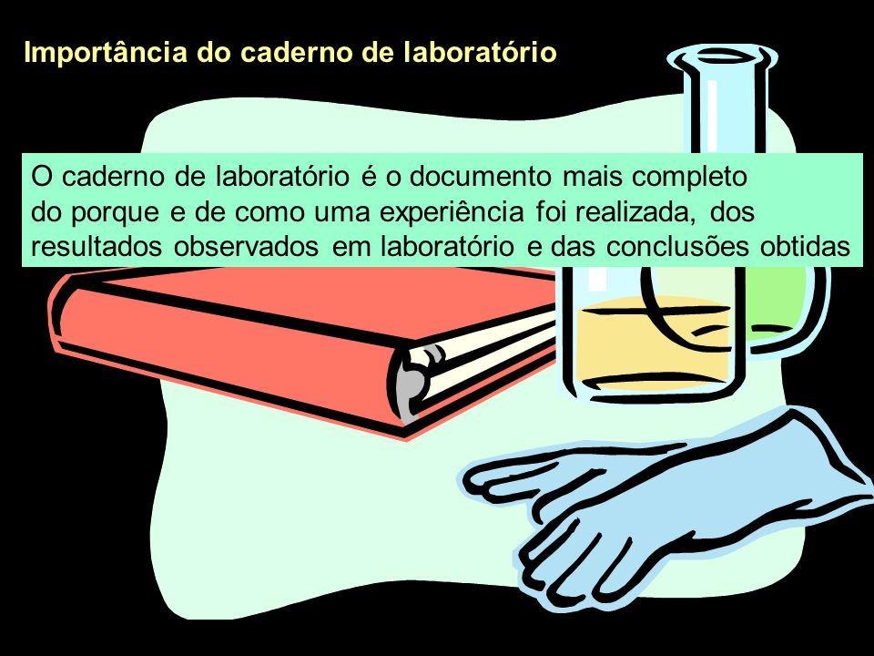 Importância do caderno de laboratório Seu conteúdo deve permitir que qualquer pessoa possa reproduzir exatamente o que foi realizado (incluindo erros )