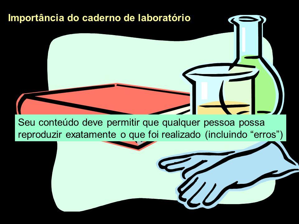 Importância do caderno de laboratório O caderno de laboratório é um documento legal que comprova a veracidade e originalidade das idéias, dos procedimentos realizados e dos resultados obtidos e descritos em relatórios, revistas científicas e patentes