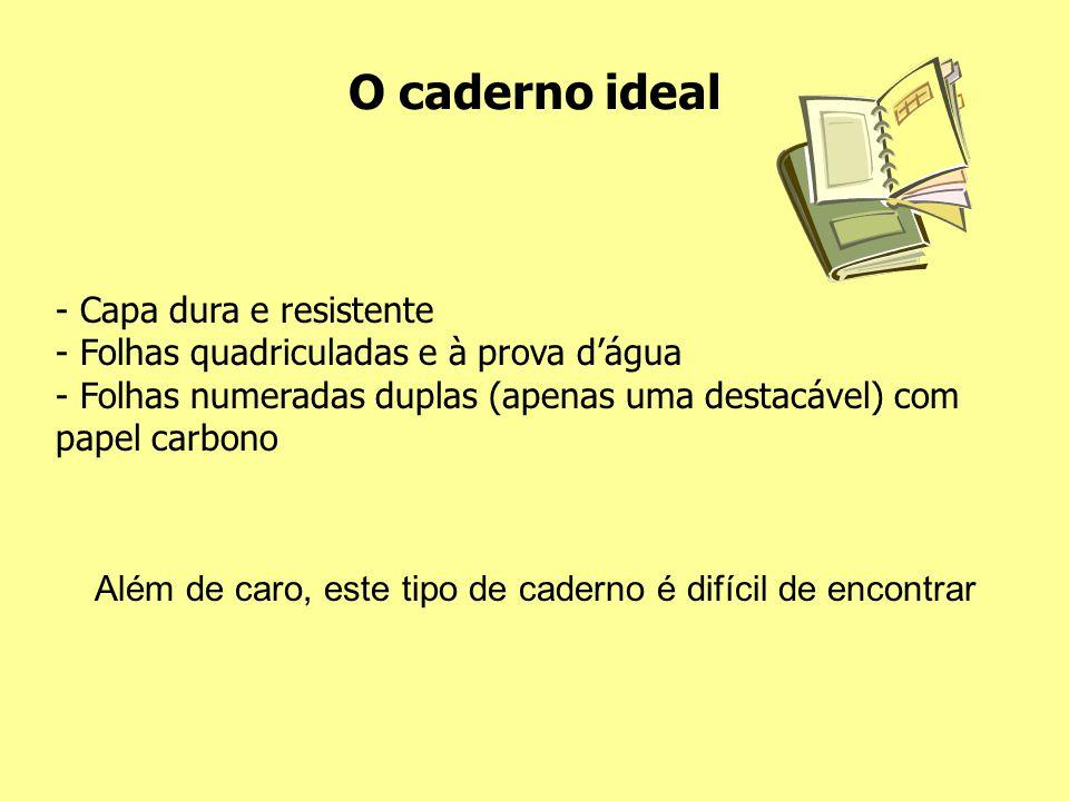 O caderno ideal - Capa dura e resistente - Folhas quadriculadas e à prova d'água - Folhas numeradas duplas (apenas uma destacável) com papel carbono A