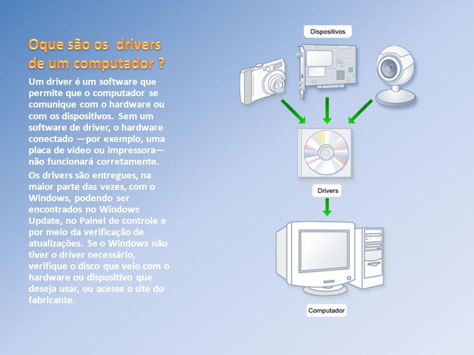 Um driver é um software que permite que o computador se comunique com o hardware ou com os dispositivos. Sem um software de driver, o hardware conecta