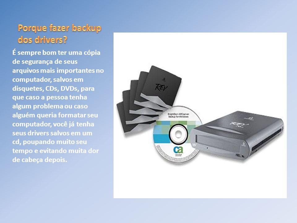É sempre bom ter uma cópia de segurança de seus arquivos mais importantes no computador, salvos em disquetes, CDs, DVDs, para que caso a pessoa tenha