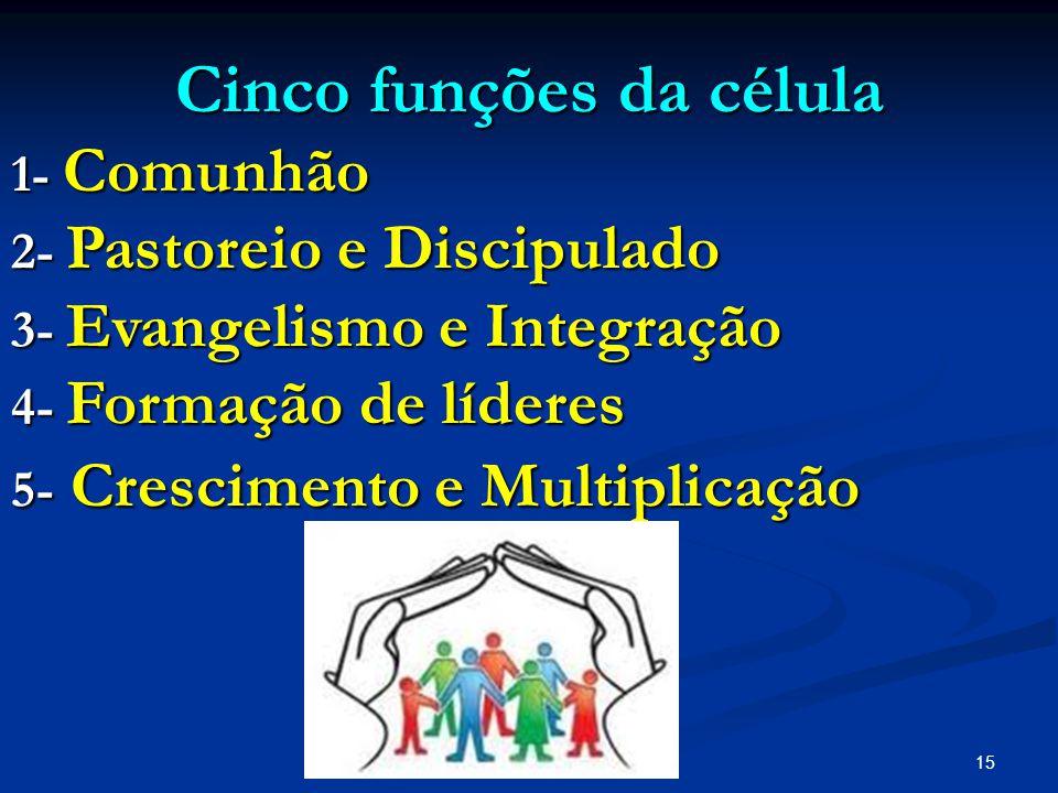 15 Cinco funções da célula Cinco funções da célula 1- Comunhão 2- Pastoreio e Discipulado 3- Evangelismo e Integração 4- Formação de líderes 5- Cresci