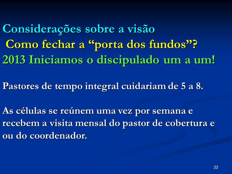 """22 Considerações sobre a visão Como fechar a """"porta dos fundos""""? Como fechar a """"porta dos fundos""""? 2013 Iniciamos o discipulado um a um! Pastores de t"""