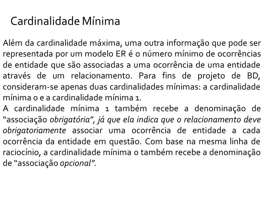 Cardinalidade Mínima Além da cardinalidade máxima, uma outra informação que pode ser representada por um modelo ER é o número mínimo de ocorrências de entidade que são associadas a uma ocorrência de uma entidade através de um relacionamento.