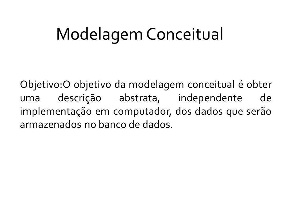 Modelagem Conceitual Objetivo:O objetivo da modelagem conceitual é obter uma descrição abstrata, independente de implementação em computador, dos dados que serão armazenados no banco de dados.