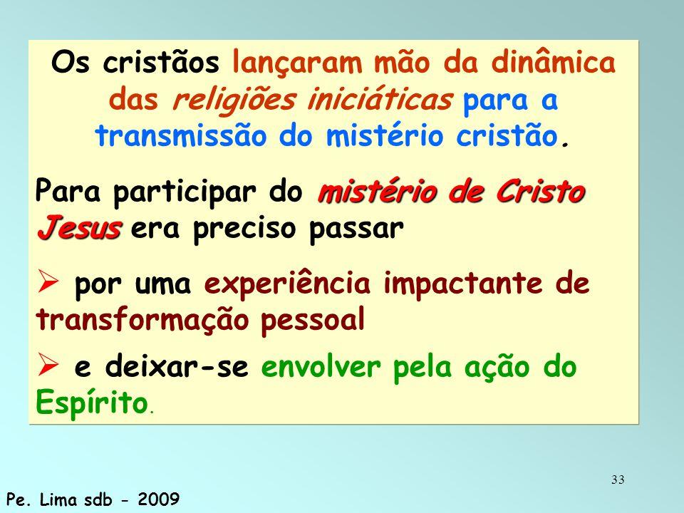 33 Os cristãos lançaram mão da dinâmica das religiões iniciáticas para a transmissão do mistério cristão. mistério de Cristo Jesus Para participar do
