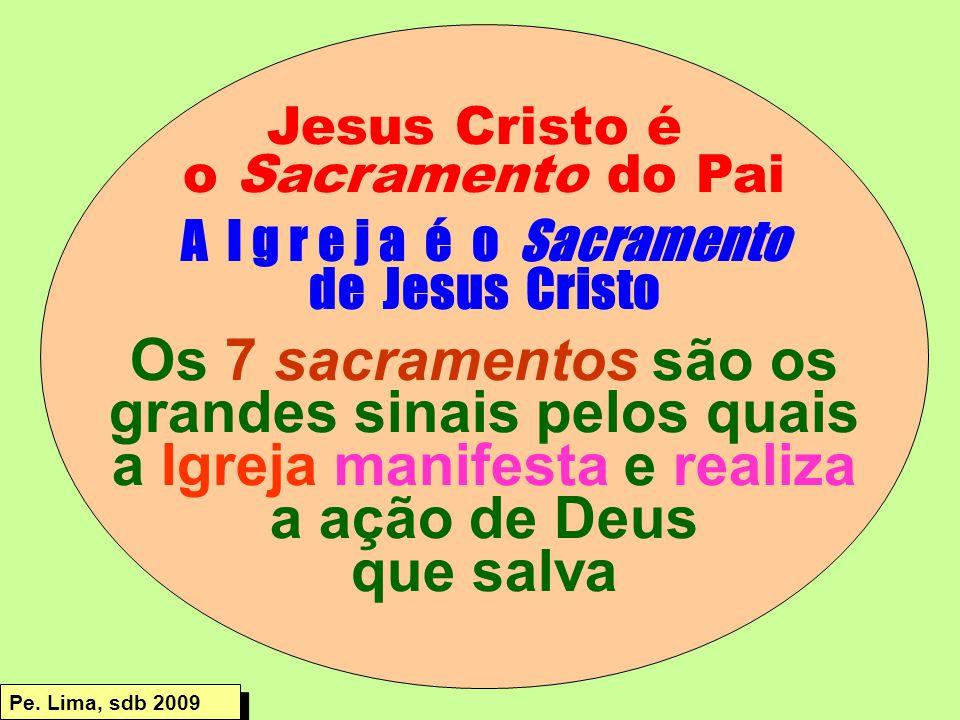 Jesus Cristo é o Sacramento do Pai A I g r e j a é o Sacramento de Jesus Cristo Os 7 sacramentos são os grandes sinais pelos quais a Igreja manifesta