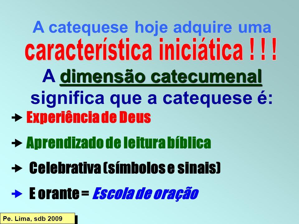 A catequese hoje adquire uma dimensão catecumenal A dimensão catecumenal significa que a catequese é:  Experiência de Deus  Aprendizado de leitura b