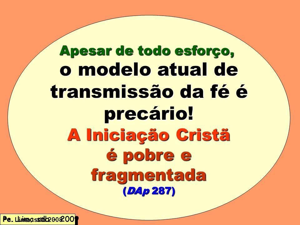 Apesar de todo esforço, o modelo atual de transmissão da fé é precário! A Iniciação Cristã é pobre e fragmentada (DAp 287) Pe. Lima, sdb 2008 Pe. Lima