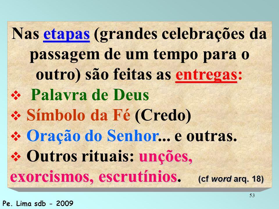 53 etapas entregas Nas etapas (grandes celebrações da passagem de um tempo para o outro) são feitas as entregas:  Palavra de Deus  Símbolo da Fé (Cr