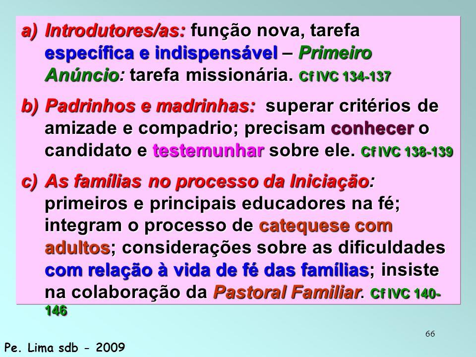 66 a) Introdutores/as: ção nova, tarefa específica e indispensável – Primeiro Anúncio: tarefa missionária. Cf IVC 134-137 a) Introdutores/as: função n