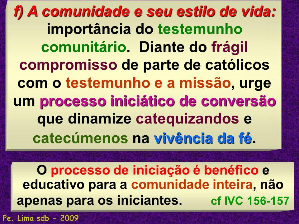 71 f) A comunidade e seu estilo de vida: processo iniciático de conversão vivência da fé f) A comunidade e seu estilo de vida: importância do testemun