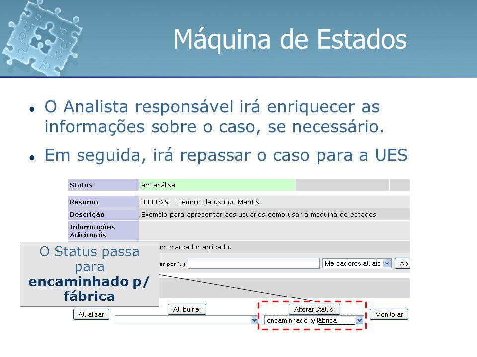 Máquina de Estados O Analista responsável irá enriquecer as informações sobre o caso, se necessário. Em seguida, irá repassar o caso para a UES O Stat
