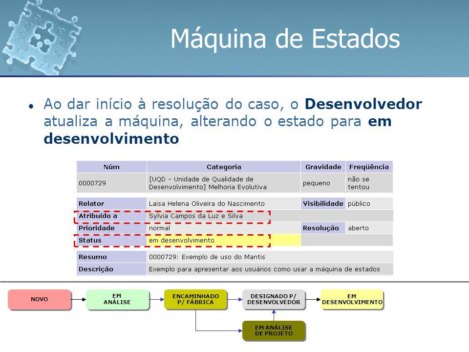Máquina de Estados Ao dar início à resolução do caso, o Desenvolvedor atualiza a máquina, alterando o estado para em desenvolvimento ENCAMINHADO P/ FÁ