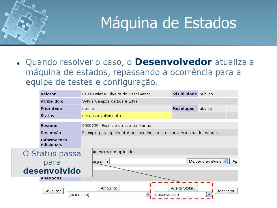 Máquina de Estados Quando resolver o caso, o Desenvolvedor atualiza a máquina de estados, repassando a ocorrência para a equipe de testes e configuraç