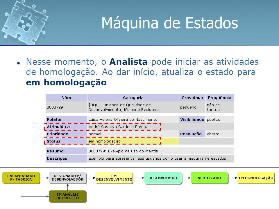 Máquina de Estados Nesse momento, o Analista pode iniciar as atividades de homologação. Ao dar início, atualiza o estado para em homologação ENCAMINHA