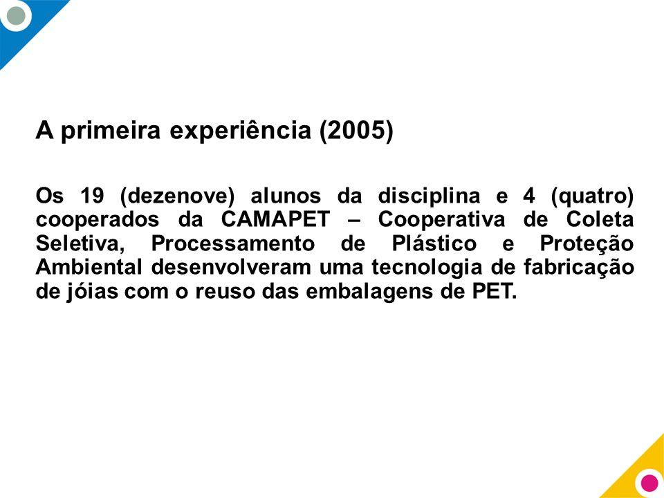 A primeira experiência (2005) Os 19 (dezenove) alunos da disciplina e 4 (quatro) cooperados da CAMAPET – Cooperativa de Coleta Seletiva, Processamento