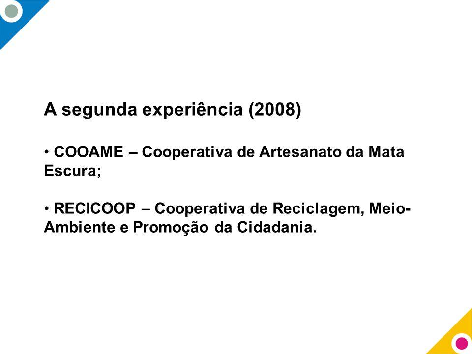 A segunda experiência (2008) COOAME – Cooperativa de Artesanato da Mata Escura; RECICOOP – Cooperativa de Reciclagem, Meio- Ambiente e Promoção da Cid