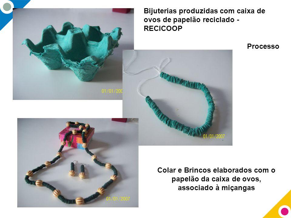 Bijuterias produzidas com caixa de ovos de papelão reciclado - RECICOOP Processo Colar e Brincos elaborados com o papelão da caixa de ovos, associado