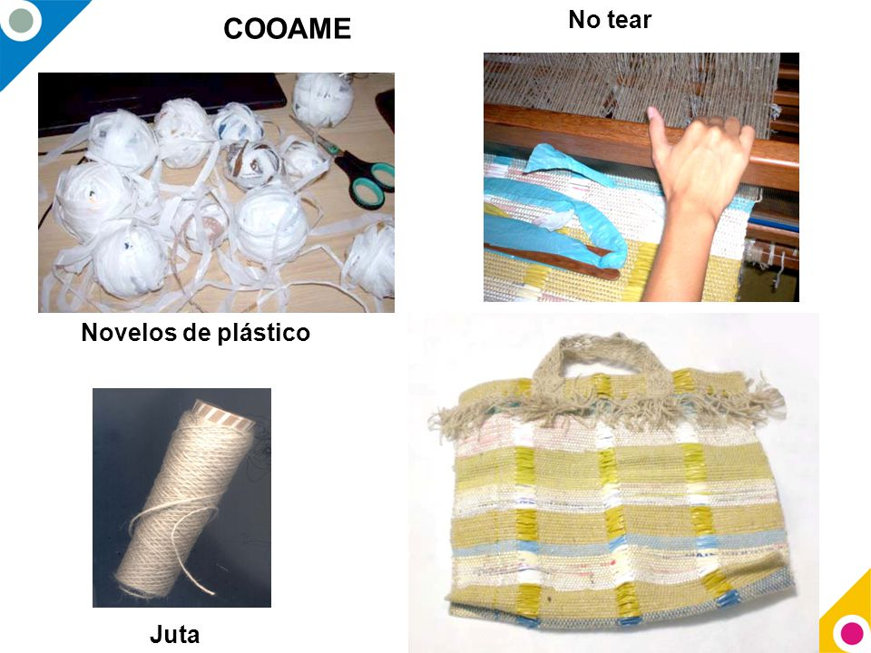 Novelos de plástico No tear Juta COOAME