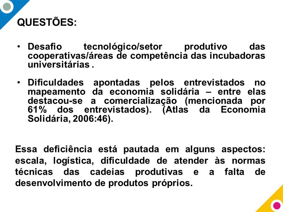 QUESTÕES: Desafio tecnológico/setor produtivo das cooperativas/áreas de competência das incubadoras universitárias. Dificuldades apontadas pelos entre