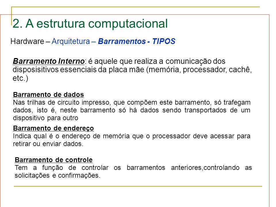 2. A estrutura computacional Hardware – Arquitetura – Barramentos - TIPOS Barramento Interno: é aquele que realiza a comunicação dos disposisitivos es
