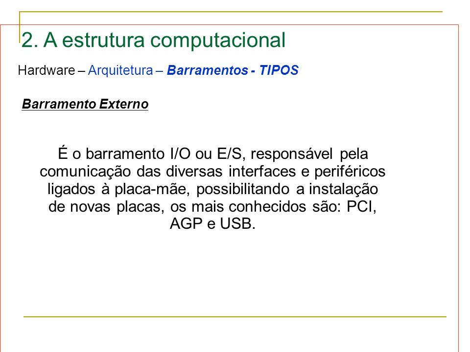 2. A estrutura computacional Hardware – Arquitetura – Barramentos - TIPOS Barramento Externo É o barramento I/O ou E/S, responsável pela comunicação d