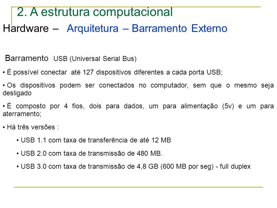 2. A estrutura computacional Hardware – Arquitetura – Barramento Externo Barramento USB (Universal Serial Bus) É possível conectar até 127 dispositivo
