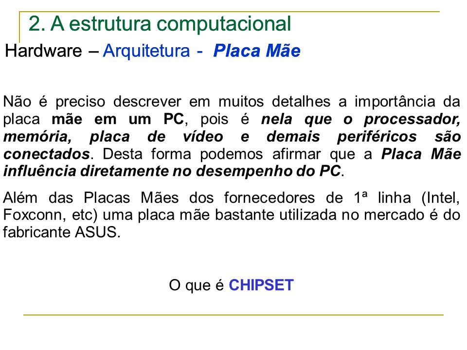 2. A estrutura computacional Hardware – Arquitetura - Placa Mãe Não é preciso descrever em muitos detalhes a importância da placa mãe em um PC, pois é