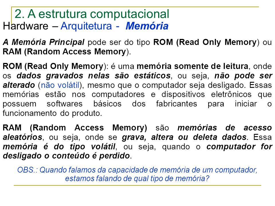2. A estrutura computacional Hardware – Arquitetura - Memória A Memória Principal pode ser do tipo ROM (Read Only Memory) ou RAM (Random Access Memory