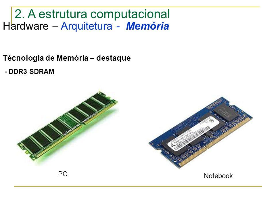 2. A estrutura computacional Hardware – Arquitetura - Memória Técnologia de Memória – destaque - DDR3 SDRAM PC Notebook