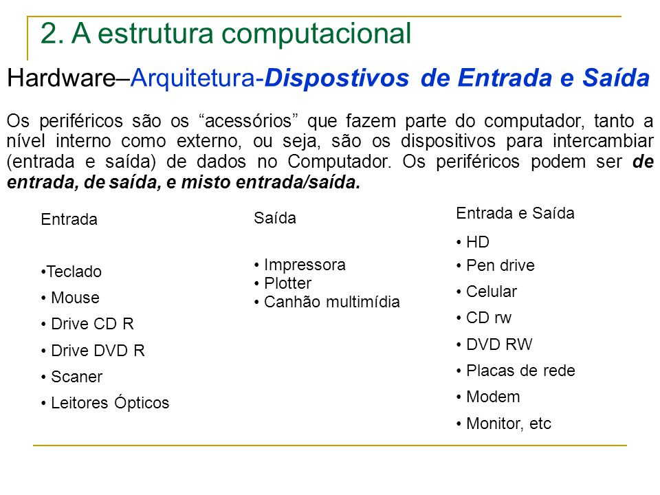 """2. A estrutura computacional Hardware–Arquitetura-Dispostivos de Entrada e Saída Os periféricos são os """"acessórios"""" que fazem parte do computador, tan"""