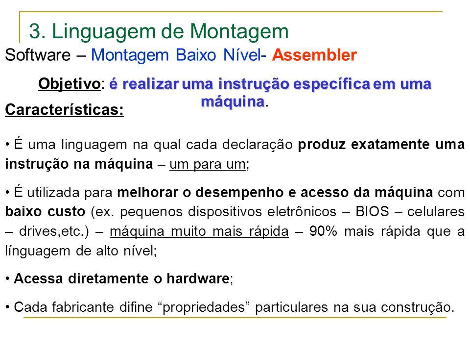 3. Linguagem de Montagem Software – Montagem Baixo Nível- Assembler Características: É uma linguagem na qual cada declaração produz exatamente uma ins
