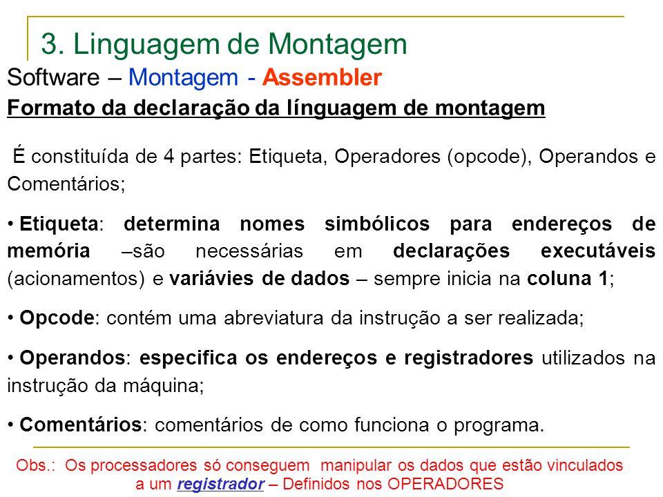 3. Linguagem de Montagem Software – Montagem - Assembler Formato da declaração da línguagem de montagem É constituída de 4 partes: Etiqueta, Operadore